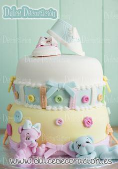 Pastel yellow pink & blue shoes & bears  boy/girl cake