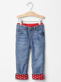 1969 fleece-lined pull-on straight jeans
