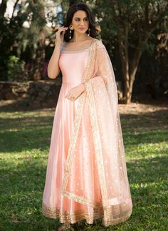 Buy Light Pink Color Long Dress With Dupatta by Akanksha Singh at Fresh Look Fashion Indian Gowns, Pakistani Dresses, Indian Wear, Indian Attire, Kurti Designs Party Wear, Lehenga Designs, Designer Anarkali, Designer Gowns, Pink Gowns