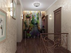 the way to  enlarge the space visually with a photo with the prospect that continues the corridor