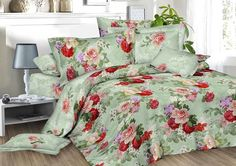 Bettwäsche 4 tlg. Gemustert Rot Grün 3 D Rosen Blumen Garnitur Set Bett Kissen