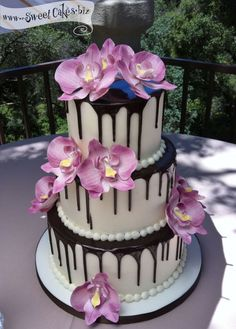 Wedding Cakes — Sweet Cakes by Rebecca I love the chocolate flowing down the cake! beautiful!