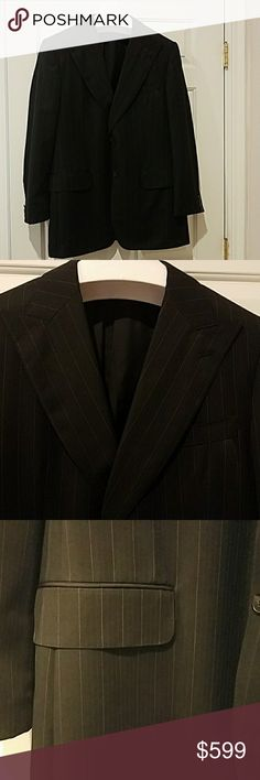 Gucci men's Black Striped Suite 52R 42R 2pc set Great condition, the size of 52R is a ERU Size and 42R in US size  aound the pant waist is 36 inches and inseam of the pants is 30 inches, but it does have about 2 inches seams to open. Gucci Suits & Blazers Suits