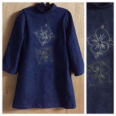 Boho/Hippie/Retro Style Denim Dress, child size 6 by SewMeems on Etsy