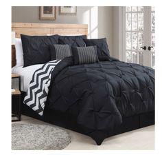 Luxurious Reversible Comforter 7 Piece Bedding Set Queen Bed Pleat King Chevron