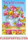 Pansy Watering Can Garden Flag House Flags, Flag Decor, Garden Flags, Watering Can, Pansies, Butterfly, Butterflies, Violets