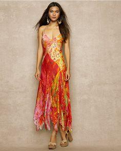 Floral-Print Silk Dress - - RalphLauren.com