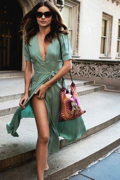 dress miranda kerr mint mint green dress day dress side split high split deep v neck maxi dress wrap dress sunglasses