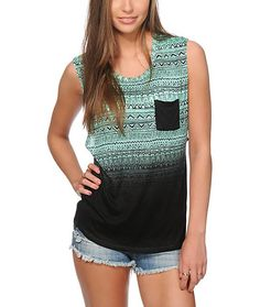 Step up your style with this lightweight feel rayon muscle tee that features a mint dip dye treatment accented with an allover black tribal print and solid chest pocket.