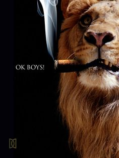 Lion with a cigar.