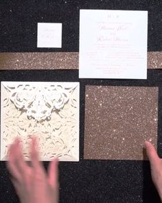 Lush Rose Gold Foil Pressed Laser Cut Invitations with Glittery Bottom Card and Belly Band for Moody Weddings EWTS038