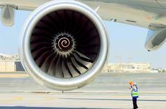"wanariefimran: "" Rolls Royce Trent 900 of an Emirates A380 in Dubai. """