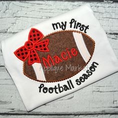 Show your team spirit with our simple mascot designs. This Football Bow My First Season applique design is sure to highlight your team's spirit.