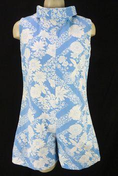 4093d0f04fb Vintage 60s Blue   White Floral Shorts Romper Playsuit Size M Cotton  Sleeveless