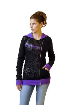 NEW - GWG Zip Hoodie: Purple and Black  We are the first dealer in Texas to carry Girls with Guns apparel. Stylish women's clothing with a shooter's and hunter's flair.