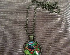 Black cat and poppy's cabochon necklace