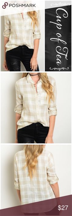 """🆕 Beige/Ivory plaid button down Perfect casual button down. Tab button sleeves, can be worn long sleeve as well. 100% cotton. Relaxed fit. SMALL: bust 36"""" length 24"""" MEDIUM: bust 38"""" length 25"""" LARGE: bust 40"""" length 26"""". CupofTea Tops Button Down Shirts"""