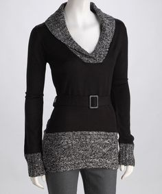 Hmm....with my $10 credit, this could be a great buy. Take a look at this Black Shawl Collar Sweater by Derek Heart on #zulily today!