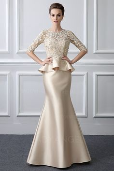Trumpet/Mermaid Jewel Neck Sweep/Brush Train Mother of the Bride Dress With Beading Lace Trompete / Meerjungfrau-Linie Herzausschnitt / Pinsel zug Kleid für die Brautmutter mit Perlenstickerei Vestido de formatura (Visited 6 times, 1 visits today) Formal Dresses For Women, Trendy Dresses, Nice Dresses, Long Dress Formal Elegant, Formal Gowns With Sleeves, Fashion Dresses, Long Gown For Wedding, Dress Wedding, Dress Brokat