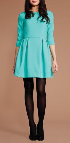 Soshanna Leila teal Dress with black tights and heels