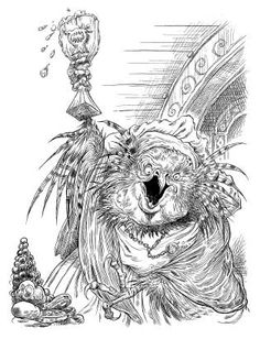 Mother Horsefeather, a shryke from Chris Riddell and Paul Stewart's series The Edge Chronicles #edgechronicles #illustration #tavern #brawl