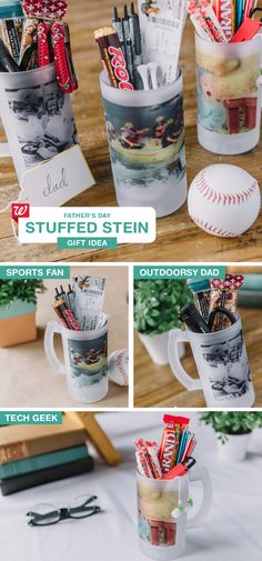 Last Minute DIY gift idea for Dad! Stuff one of our Frosted Steins with products your dad loves for a personal Father's Day gift! See our Smile blog for stein-stuffer suggestions for sports-, outdoors- and tech-obsessed dads.