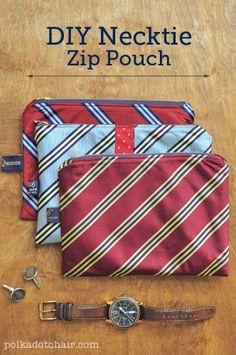 PatternPile.com - Hundreds of Patterns for Making Handbags, Totes, Purses, Backpacks, Clutches, and more. | Thrifty Sewing: Upcycle and Sew a Zippered Necktie Pouch | http://patternpile.com/sewing-patterns