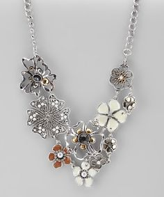 Take a look at this Silver & Pearl Flower Bib Necklace by Majestic on #zulily today!