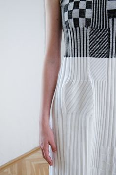 black and white knitted dress by AWAclothes! Student Fashion, Striped Pants, Knit Dress, Stylists, Base, Black And White, Clothes, Dresses, Outfits