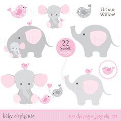 Bebé niña elefantes - Clip art & documentos digitales juego en calidad de 300 dpi, Jpeg y Png archivos.