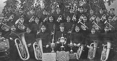 """Old photograph of a Brass Band in Musselburgh, Scotland . The name Musselburgh is Old English in origin, with """" mussel """" referring to the s. Build A Fort, Brass Band, Old Photographs, Old English, Scotland, City Photo, Old Things, Old Photos, Old Pictures"""