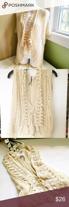 "DELIAS Beige Crochet Top, Size M, works for Small DELIAS Beige Crochet Top, Size M, works for Small too. Machine wash cold, dry flat.  100% cotton.  Chest measures 17"", shoulder to shoulder a bit over 17"" and length is 20"" measured from top of shoulder Delias Tops"