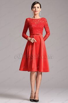Stunning Red Party Dress with Long Lace Sleeves (X04151802) list price: $139.99 sale price: $90.99