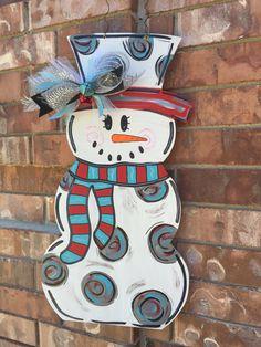 Snowman Door Hanger, Snowman Wreath, Christmas Door Hanger, Christmas Wreath…