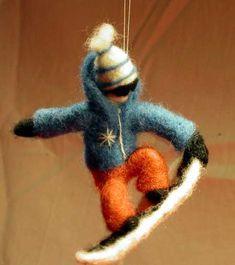 Needle felted snowboarder. Gunilla Rehn