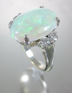 DESIGNER 18 Karat White Gold Crystal Opal Diamond Encrusted Ring In Box at www.ShopLindasStuff.com