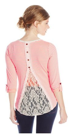 Women's Stripe V-Neck Lace Back Top – Low as $8.23 – Made in USA