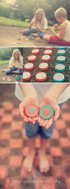Outdoor DIY checkers using baby food jar lids and side walk chalk. A great way to spend some hours during the summer. Just make sure they wear sunscreen.