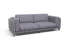 Cover for #IKEA #NOCKEBY three-seat sofa - East Coast Navy Vermont. If you are thinking about adding a pattern to a room but are unsure of what will work, remember that the simplest print often has the most graphic impact. Stripes can be the foundation of any good interior design. They have the ability to make ceilings look taller and furniture appear more crisp and high-end | @covercouch