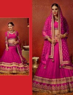 Pink Tussar Silk Lehenga With Golden Work On The Borders $155.07 #weddinglehenga #partywearlehenga #bridallehenga #festivallehenga #designerlehenga #fashionumang