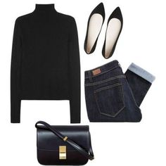 Black Turtleneck Sweater+ Dark Rolled Skinny Jeans+ Black Flat Pointy Shoes + Black Handbag