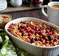 Cranberry-Apple Casserole: 1 bag fresh cranberries; 3 tart apples, peeled & sliced; 1 C oatmeal; ½ C chopped pecans; 2 C light brown sugar; 3T cinnamon; 3 T flour; 1 stick melted butter.  Mix sugar, cinnamon and flour. Toss with cranberries, apples, oatmeal & pecans. Place in greased casserole dish and pour butter over top.  Cook in 350 deg. oven for 45-50 (until hot & bubbly.)