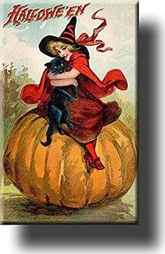 Halloween Witch and Cat on Pumpkin Picture on Stretched Canvas, Wall Art Decor, Ready to Hang!