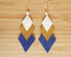 Loops Muan blue sky gold-plated and glass Miyuki beads by Ccedille