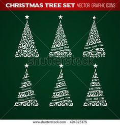 Christmas tree set. New Year postcard design, greeting card, banner, vector illustration