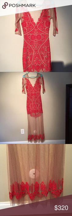 """⬇️REDUCED❗️🆕For Love and Lemons Lotus Maxi Dress This dress is NWT! Nude lace maxi dress with red embroidery. Called Fire Red. Sheer tulle. Partially lined. Crew neck. Illusion yoke. 3/4 length sleeves. Open back with tie closure. Hidden side zip. Approximately 16"""" across the bust and 13 1/2"""" across the waist when laid flat. Approximately 63"""" from shoulder to hem. Lining is approximately 28"""" long. Self:  100% polyester  Lining:  90% polyester, 10% spandex  SOLD OUT For Love And Lemons…"""