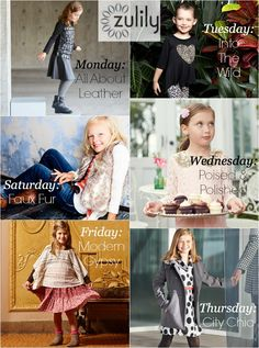As part of @zulily's Trend Week, there are coordinating daily kids events to coincide with the womens trends (i.e. leather, animal print, boho, etc).  These little girl styles are just precious!