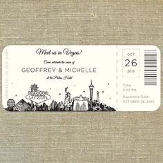 Las Vegas Skyline Plane Ticket wedding invitation