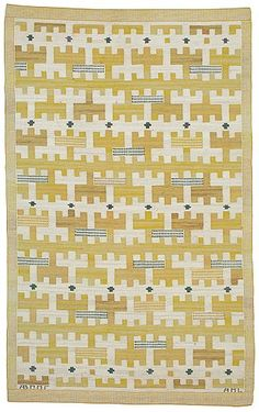 "565. CARPET. ""Gulbroka"". Flat weave. 220 x 133 cm. Signed AB MMF AML. Textile Patterns, Textile Design, Textile Art, Print Patterns, Weaving Textiles, Tapestry Weaving, Tapestry Wall Hanging, Bauhaus Textiles, Animal Rug"