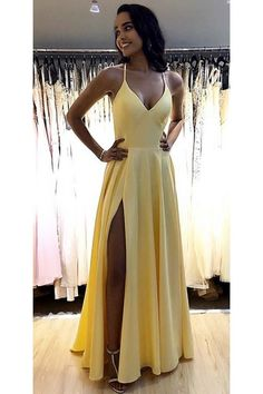 Prom dresses yellow - Simple Long Spaghetti Straps Prom Dresses Fahion Long Side Slit School Dance Dresses Custom Made Long Yellow Evening Party Dress – Prom dresses yellow Straps Prom Dresses, A Line Prom Dresses, Ball Dresses, Yellow Prom Dresses, Long Formal Dresses, A Line Dress Formal, Yellow Formal Dress, Homecoming Dresses Long, Matric Dance Dresses